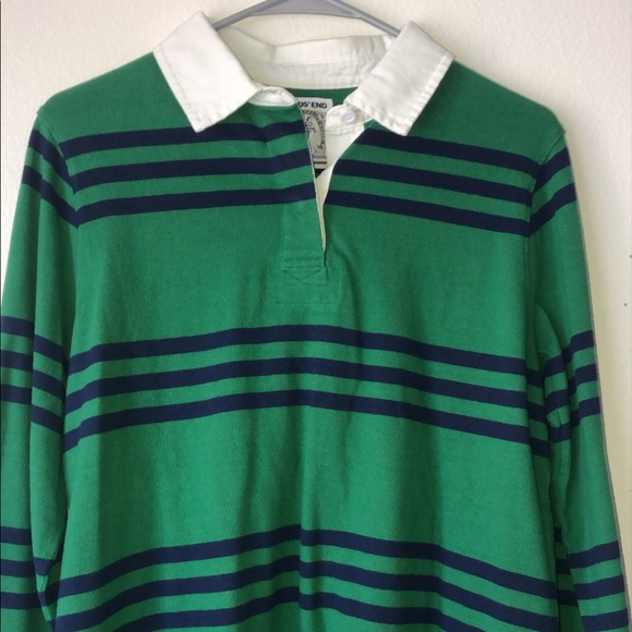Navy and Green Long sleeve Striped Rugby Top